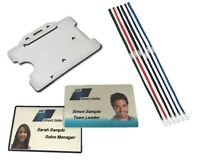 CUSTOM Printed Plastic ID Cards Staff Name Badges and Card Holder. FREE LANYARD!