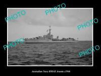 OLD POSTCARD SIZE AUSTRALIAN NAVY PHOTO OF THE HMAS ARUNTA SHIP c1946