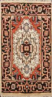 Hand-knotted Geometric Indo Heriz Ivory Oriental Area Rug Wool Home Decor 2x3 ft