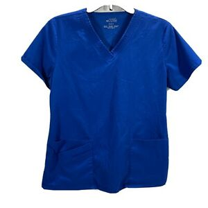 Cherokee Luxe Women's Blue Scrub Top Size Small