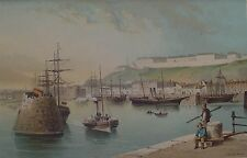 St Heliers Harbour - Jersey,  - Antique Chromolithograph 1895