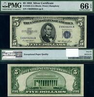 FR. 1655 $5 1953 Silver Certificate C-A Block Gem PMG CU66 EPQ