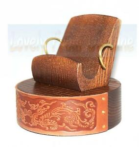 Wooden Stand for iPhone etc Mobile Cell Phone Holder Universal Leather DRAGON