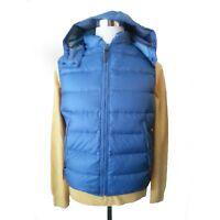 BURBERRY Men Vest Size S Blue Puffer Down Full Zip Hooded Jacket