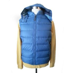 BURBERRY Men Vest Size S Blue Puffer Down Full Zip Hooded Jacket