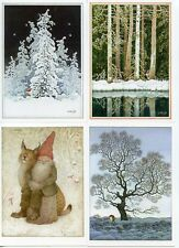 15 NEW Assorted Swedish Postcards by Lennart Helje Tomte Gnome with Moose Lynx