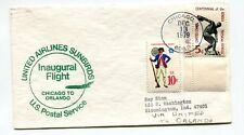United Airlines First Flight Chicago Illinois Post Office - Orlando Florida 1979