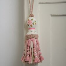 Shabby Chic French Country Tassel Tassle Hand Painted Pink White Green- Curtains