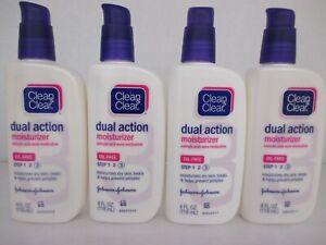 4 CLEAN & CLEAR DUAL ACTION MOISTURIZER 4 FL. OZ. EACH  EXP:5/21+ BB 3865