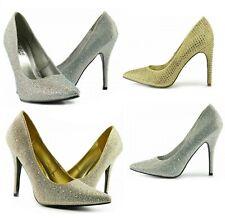 Nuevas señoras para mujer Stiletto Tribunal Zapatos Taco Alto Puntera Puntiaguda Boda Fiesta Plata
