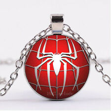 NEW Cabochon Glass necklace Silver/Bronze/Black pendant(spider-man)A-77