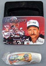 """Dale Earnhardt Sr #3 Goodwrench In Memory Collector Tin w/ 7-1/2"""" Folding Knife"""