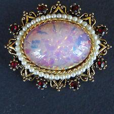 Signed ART Dragon's Breath Pink Cabochon Pin Brooch Pearls Rhinestones Gold Vtg