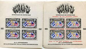 2 DIFFERENT HONDURAS SOUVENIR SHEETS 1940 OVERPRINT 1949 U.P.U MINT NH P.O FRESH