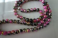 20 Pink/Black/Gold/Silver 10mm Glass Beads #g3901 Combine Post-See Listing