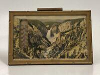 Vintage Yellowstone National Park Souvenir Framed Linen Postcard Thermometer