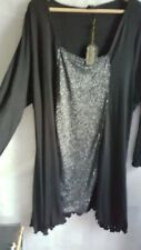 NWT Slinky Flattering Long Black/Silver Glitter Top Plus Size 30-32 Dressy party