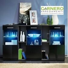Credenza CORK struttura e frontali nero lucido design moderno living casa arredo