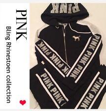 VS PINK BLING Rhinestone Perfect Full-zip hoodie & pant Outfit  set