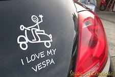 """Aufkleber """"I love my VESPA"""" - Weiß - Auto KFZ Sticker V50 PK PX Sprint GL Rally"""