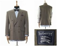 Mens BURBERRYS Blazer Coat Jacket Double Breasted Wool Checked Beige Size 42 52