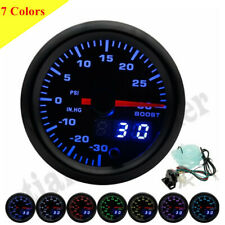 "52mm 2"" Car Turbo Boost Gauge Meter 0-30PSI 7 Color LED - Dual Display 12V"