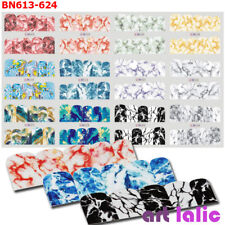 12 Sheet Gradient Marble Full Cover Image Nail Decals Nail Transfer Water Foils