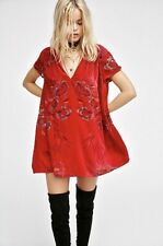 Free People Velvet Dress Actin' Single Red Effortless Floral V Neck S NEW