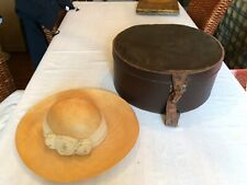 Large Vintage Brown Hat Box Pattern Fabric Interior & Handle & Straw Hat & Roses