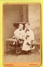 Victorian CDV - Young Boys in Dresses with Bucket & Spade - Beverley - Blackpool