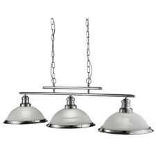 Searchlight 2683-3SS Bistro Satin Silver 3 Light Ceiling Bar Pendant Acid Glass