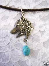 Turquoise Gemstone Nugget Adj Cord Necklace New Pewter Wolf Head Profile w Blue