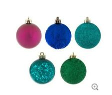 Lot of 15 Matte Shiny Glitter Christmas Ball Ornaments Royal Blue Magenta Teal