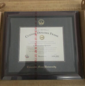 Gold Embossed Diploma Frame In Cambridge W/ Black And Maroon Mats 8.5x11