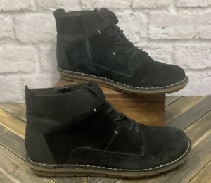 Clarks Tamitha Key Black Suede Leather Lace-up Side Zip Low Ankle Boot Size 8