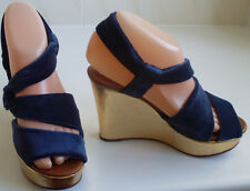 New ROCHAS Designer France Velvet Wedge Sandals Size UK 4 EU 37 US 6.5 RRP £470