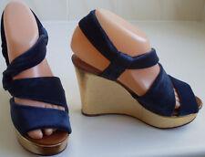 ROCHAS Designer France Velvet Wedge Sandals Size UK 4 EU 37 US 6.5 RP GBP £470