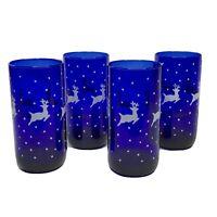 Vtg Libbey Cobalt Blue Tumblers 16oz Set of 4 White Reindeer Highball Holiday