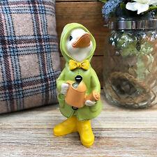 Duck With Watering Can & Rain Coat Garden Sculpture Statue Decorative Ornament