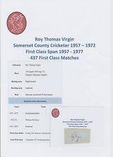 Roy Virgin Somerset Giocatore di Cricket 1957-1972 Originale Firmato a Mano Taglio/Card