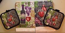 New listing Wine Club Kitchen Hand Towel Set Kitchen Pot Holder, And Mitt 5 Pcs Set