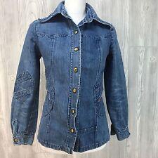 Vtg 70's Blue Denim Jean Jacket Top Snap Hippy Patchwork Zipper Big Collar S/M