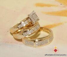 Yellow Gold His Her Round Diamond Engagement Bridal Wedding Band Trio Ring Set