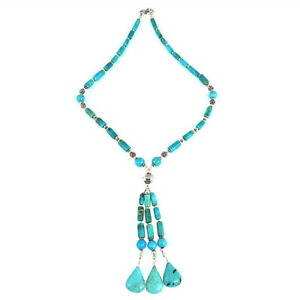 Pear Shape Turquoise Gemstone Beaded Necklace 925 Sterling Silver Jewelry N1