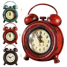 Retro Metal Wall Clock Desk Clock Home Decoration Vintage Style Round Shape