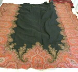 Antique Victorian Wool Paisley Shawl in Three Pieces Cutter for Crafts
