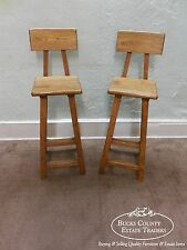 Quality Pair of Solid Elm Wood Rustic Bar Stools