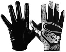 CUTTERS REV 2.0 FOOTBALL RECEIVER GLOVES LARGE PAIR YOUTH WR RB BLACK PLATINUM L