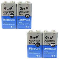 4 pcs 9V 9.0V Volt 280mAh Ni-MH rechargeable battery PP3 block GODP US Stock