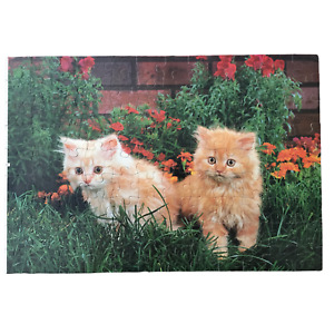 Milton Bradley Cats Kittens in Garden Flowers Junior Puzzle Kids 100 Pcs Jigsaw